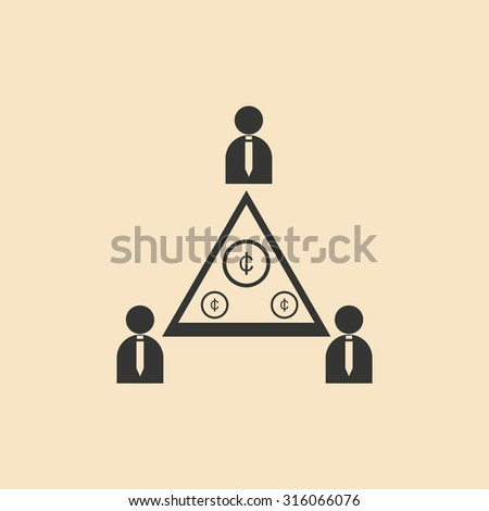 Flat in black and white People Pyramid money - stock vector
