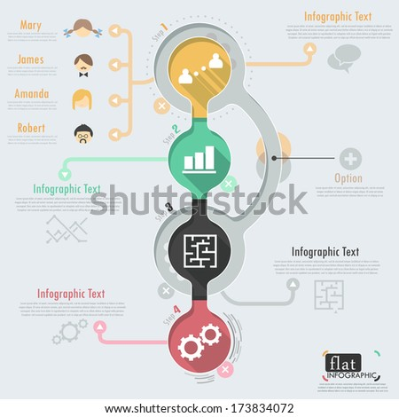 Flat infographic design with icons. Vector. Can be used for web design, workflow layout, social media, entertainment and games. - stock vector