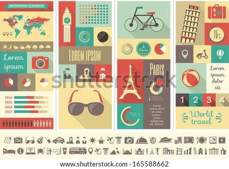 Flat Infographic Elements plus Icon Set. Vector EPS 10. - stock vector