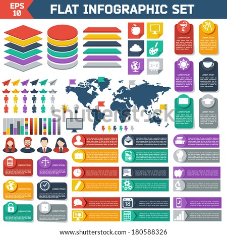 Flat infographic elements set. Colorful template for you design, web and mobile applications.  - stock vector