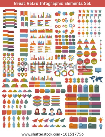 Flat infographic elements set in retro colors. Colorful template for you design, web and mobile applications.  - stock vector