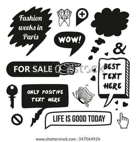 flat infographic speech bubbles and icons decorated in a comics strip