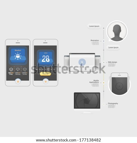Flat Infographics design UI Elements with icons for templates.Collection of colorful flat kit UI navigation elements with icons for personal portfolio website templates - stock vector