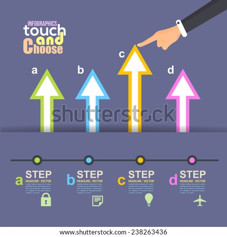 Flat Infographics Template and Arrow and Web Elements - Business, Marketing Touch and Choose Concept Vector Design  - stock vector