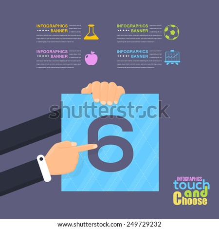 Flat Infographics Template and Web Elements - Business, Marketing Touch and Choose Concept Vector Design Number Six - stock vector