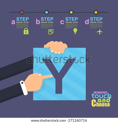 Flat Infographics Template and Web Elements - Business, Marketing Touch and Choose Letter Y Concept - stock vector