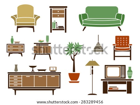 Flat interior decorations and furniture icons set with chair, wardrobe, bed, lamp, dresser, nightstand and TV - stock vector