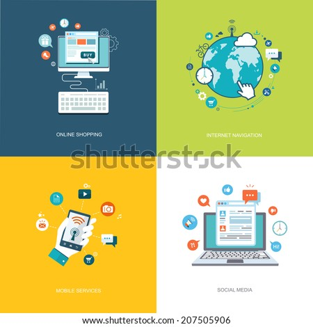 Flat internet technologies banners set. Social media, internet navigation, online shopping, mobile services illustrations. Eps10 - stock vector