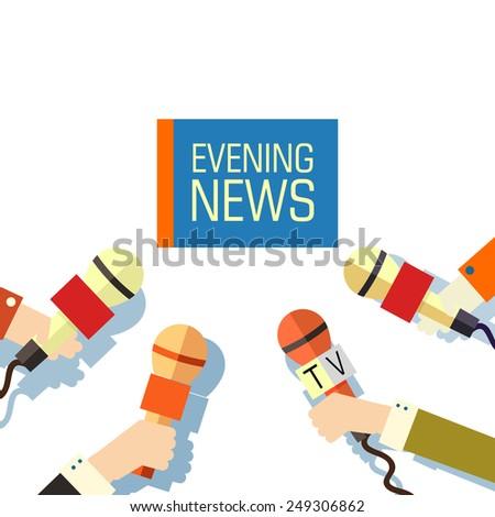 Flat interviewed on television news programs newsmaker background concept. Vector illustration design - stock vector