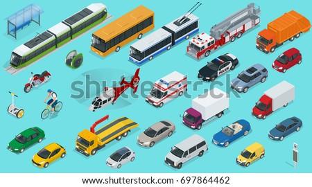 Flat isometric city transport icon set. Taxi, Ambulance, trolleybus, Police, safari travel, Bicycle, Mini, Subway train, Fire-truck, cargo-truck, bus, Electric car, scooter, Sedan