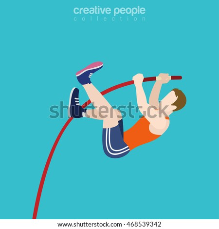 Flat isometric High Pole Jumper vector illustration. High-jump (pole vaulting sports) Male Sportsman 3d isometry image. Summer Olympic games concept.