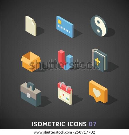 Flat Isometric Icons Set 7 - stock vector