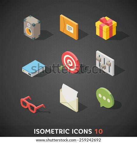 Flat Isometric Icons Set 10 - stock vector