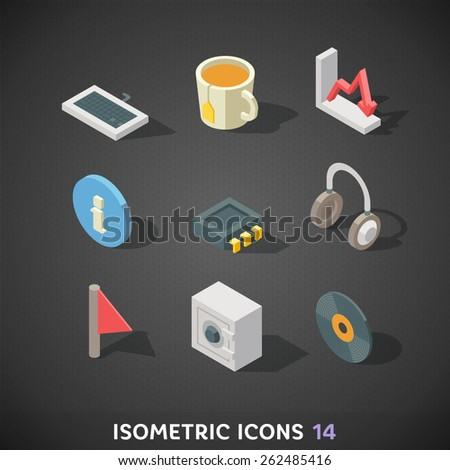 Flat Isometric Icons Set 14 - stock vector