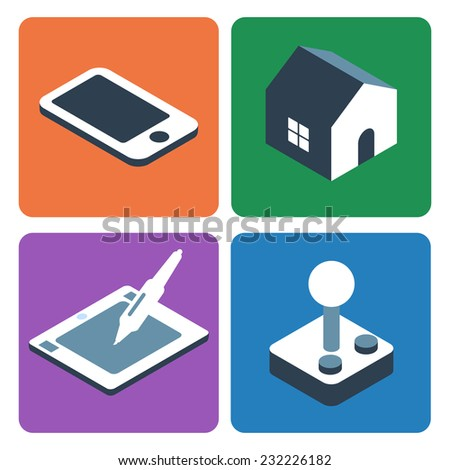 Flat Isometric Icons. Smartphone, Home, Digitizer tablet, Retro Joystick. - stock vector
