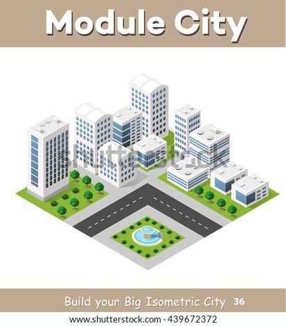 Flat isometric map, landscape city, building skyscraper,  parks, cafe, landmarks. Vector 3d top view block dormitory area - stock vector