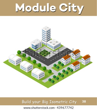 Flat isometric map, landscape city, building skyscraper, parks, cafe, landmarks. Vector 3d top view block dormitory area
