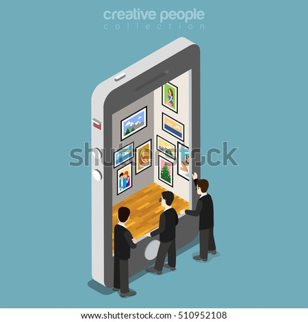Flat isometric special agents spying photo gallery in smartphone vector illustration. 3d isometry Mobile technology, privacy concept.