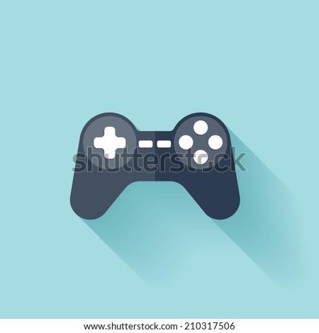 Flat joystick icon. - stock vector