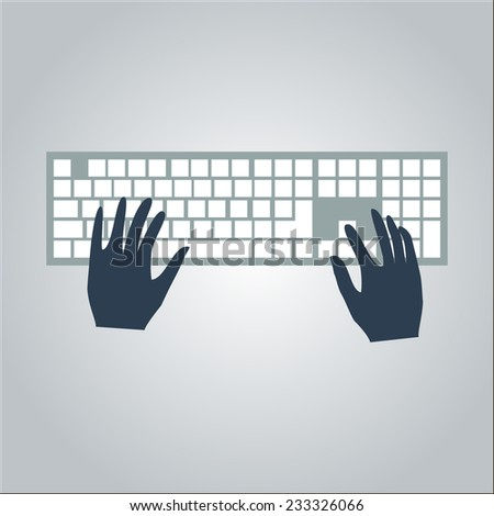 flat keyboard and hand. typing on keyboard. vector illustration - stock vector