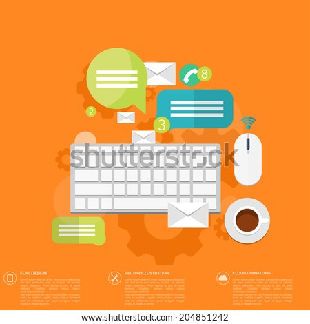 Flat keyboard icon. Contact, social network concept. Global communication, chat. - stock vector