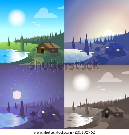 Flat lake house landscape river bank wild forest scene set. Stylish web banner nature outdoor collection. Daylight, night moonlight, sunset view, retro vintage picture sepia. - stock vector