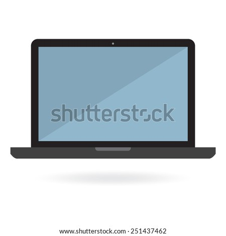 Flat laptop on white