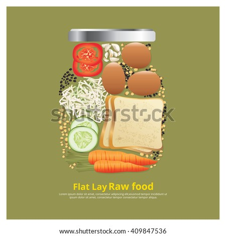 Flat Lay Design Ingredients for Food on Bowl Outline vector Illustration - stock vector