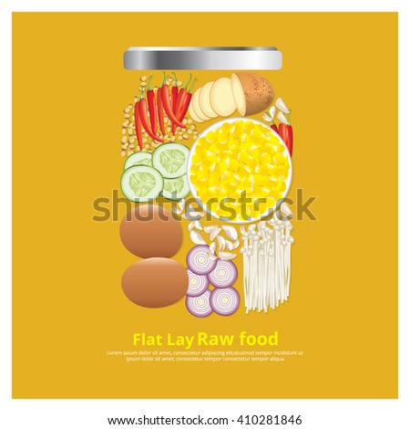 Flat Lay Design Ingredients for Food on Bowl Outline vector Illustration? - stock vector