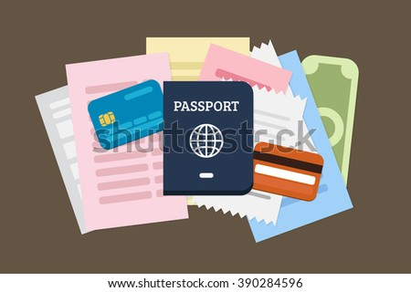 Flat Lay Travel vector illustration