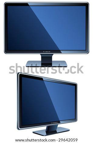 flat LCD television isolated on white - stock vector