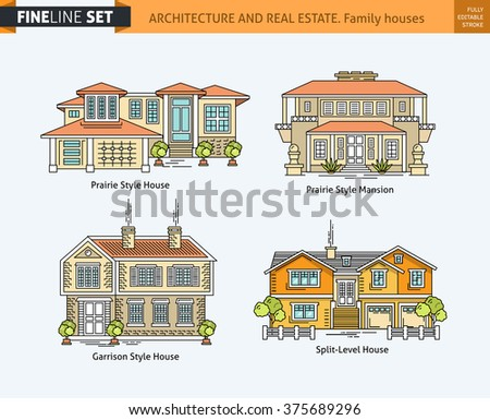 Mansions stock vectors vector clip art shutterstock for Flat architecture design