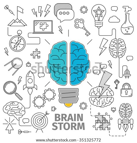 Flat Line Art concept of a brainstorm. Innovation and solution. business idea, vector illustration, Planning, distribution, setting goals, organizing, drawing up lists and prioritizing - stock vector