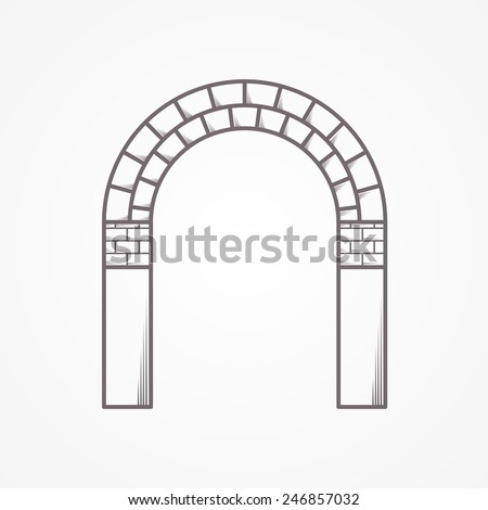 Flat line brick archway vector icon. Flat line vintage design vector icon for brick arch on white background.  - stock vector