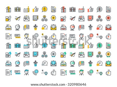 Flat line colorful icons collection of business essentials object, office tools, professional solution item, company information and services, communication and support. - stock vector