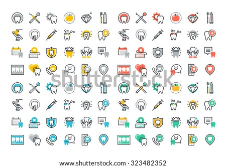 Flat line colorful icons collection of dental services, equipment and products for dental care, online support, dental treatment and prosthetics - stock vector