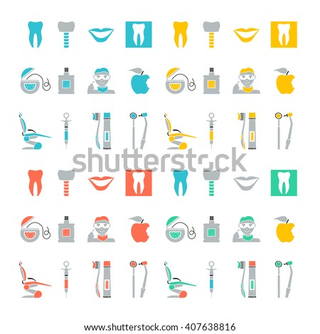 Flat line colorful icons collection of dental services, equipment and products for dental care, online support, dental treatment and prosthetics