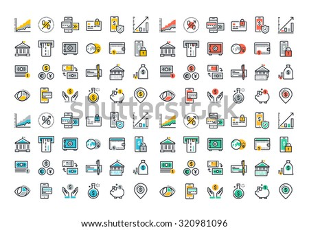 Flat line colorful icons collection of online payment, m-banking, , money savings and finance tools, banking services, financial management items, business accounting, internet payment security - stock vector