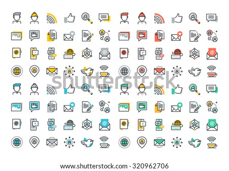 Flat line colorful icons collection of social network, social media, modern forms of communication, digital marketing, sharing media information, people networking communication. - stock vector