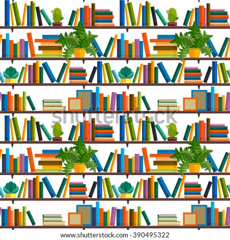 Flat line colorful seamless pattern  of books isolated on white - stock vector