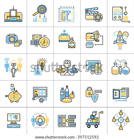 Flat line conceptual icons set of digital and video marketing. Modern flat linear concept pictogram, set outline symbol for websites, mobile websites and apps. - stock vector
