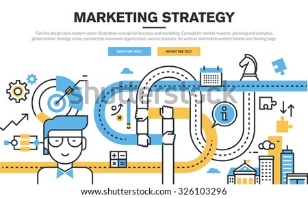 Flat line design concept for business and marketing, market research, planning and analytics, marketing strategy, partnership teamwork organization, success business, for web banner and landing page. - stock vector