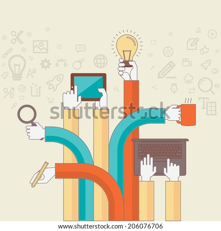 Flat line design concept for creative design process. Concepts for web banners and printed materials for design agency, designers. - stock vector
