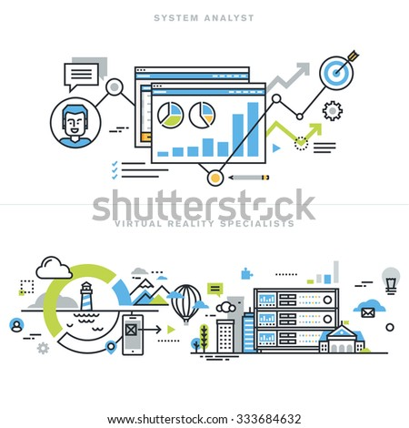 Flat line design concepts for system analyst, information system architect and developer, business analyst, virtual reality technology, augmented reality, vr gaming and headset devices. - stock vector
