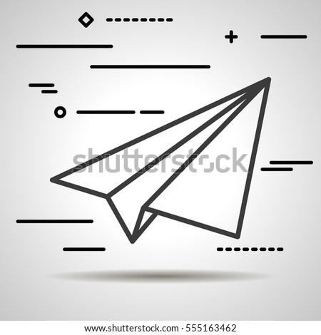 Flat Line design graphic image concept of paper plane icon on a grey background