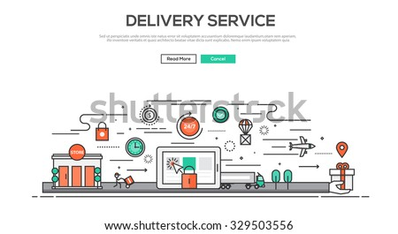 Flat Line design graphic image concept, website elements layout of Delivery service. Icons Collection of Creative Work Flow Items. Vector Illustration - stock vector