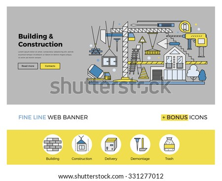 Flat line design of web banner template with outline icons of building industry construction process, urban architecture work progress. Modern vector illustration concept for website or infographics. - stock vector