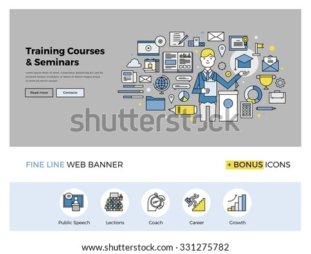 Flat line design of web banner template with outline icons of business mentor training course, online seminar, internet workshop service. Modern vector illustration concept for website or infographics - stock vector
