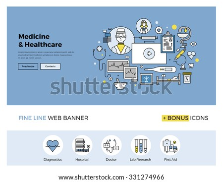 Flat line design of web banner template with outline icons of emergency medical services, hospitality in clinic, professional medicine. Modern vector illustration concept for website or infographics. - stock vector