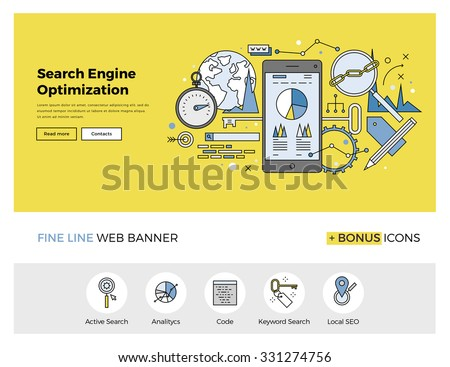 Flat line design of web banner template with outline icons of search engine optimization service, SEO data analytics and keyword process. Modern vector illustration concept for website or infographics - stock vector